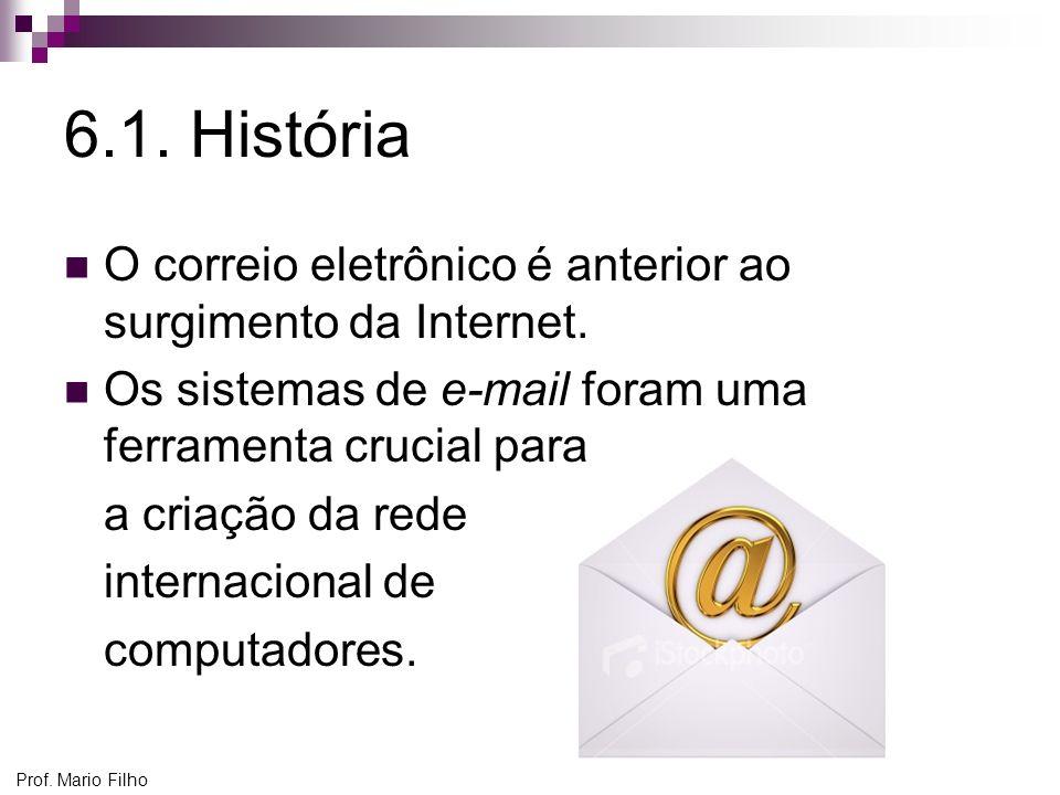Prof. Mario Filho 6.1. História O correio eletrônico é anterior ao surgimento da Internet. Os sistemas de e-mail foram uma ferramenta crucial para a c