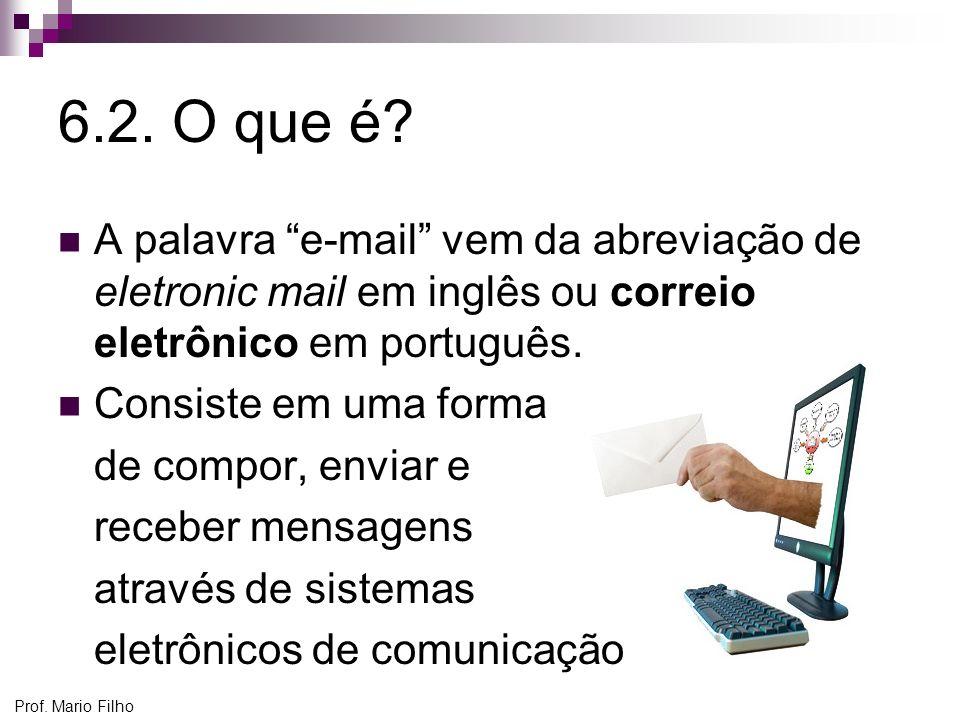 Prof. Mario Filho 6.2. O que é? A palavra e-mail vem da abreviação de eletronic mail em inglês ou correio eletrônico em português. Consiste em uma for