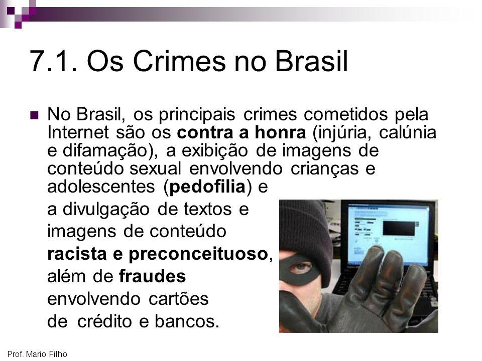 Prof. Mario Filho 7.1. Os Crimes no Brasil No Brasil, os principais crimes cometidos pela Internet são os contra a honra (injúria, calúnia e difamação