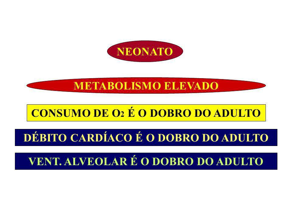 NEONATO METABOLISMO ELEVADO DÉBITO CARDÍACO É O DOBRO DO ADULTO VENT. ALVEOLAR É O DOBRO DO ADULTO CONSUMO DE O 2 É O DOBRO DO ADULTO