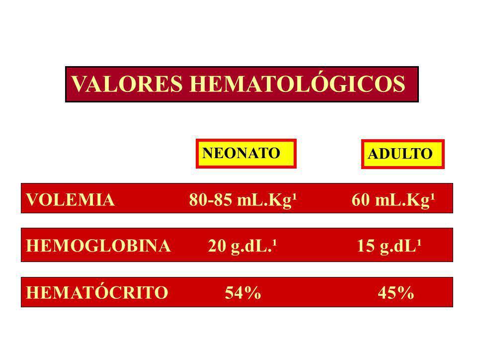 VALORES HEMATOLÓGICOS NEONATO ADULTO VOLEMIA 80-85 mL.Kg¹ 60 mL.Kg¹ HEMOGLOBINA 20 g.dL.¹ 15 g.dL¹ HEMATÓCRITO 54% 45%