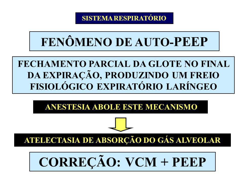 FENÔMENO DE AUTO- PEEP FECHAMENTO PARCIAL DA GLOTE NO FINAL DA EXPIRAÇÃO, PRODUZINDO UM FREIO FISIOLÓGICO EXPIRATÓRIO LARÍNGEO ANESTESIA ABOLE ESTE ME