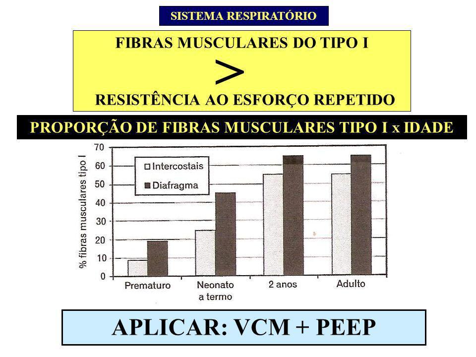 PROPORÇÃO DE FIBRAS MUSCULARES TIPO I X IDADE SISTEMA RESPIRATÓRIO FIBRAS MUSCULARES DO TIPO I RESISTÊNCIA AO ESFORÇO REPETIDO > APLICAR: VCM + PEEP
