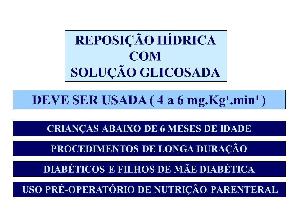 REPOSIÇÃO HÍDRICA COM SOLUÇÃO GLICOSADA DEVE SER USADA ( 4 a 6 mg.Kg¹.min¹ ) CRIANÇAS ABAIXO DE 6 MESES DE IDADE DIABÉTICOS E FILHOS DE MÃE DIABÉTIC