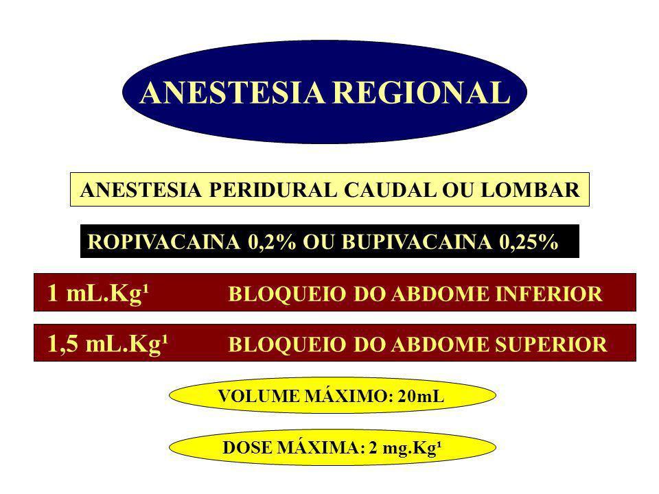 ANESTESIA REGIONAL ANESTESIA PERIDURAL CAUDAL OU LOMBAR ROPIVACAINA 0,2% OU BUPIVACAINA 0,25% 1 mL.Kg¹ BLOQUEIO DO ABDOME INFERIOR 1,5 mL.Kg¹ BLOQUE