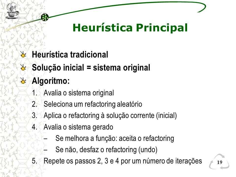 19 Heurística Principal Heurística tradicional Solução inicial = sistema original Algoritmo: 1.Avalia o sistema original 2.Seleciona um refactoring al