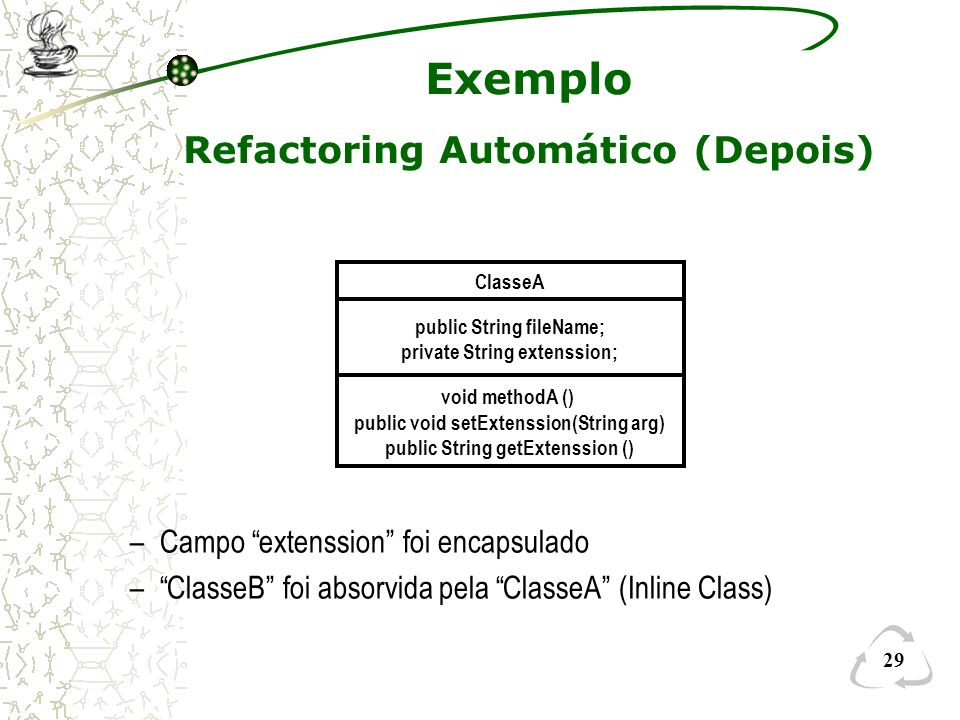 29 Exemplo Refactoring Automático (Depois) ClasseA public String fileName; private String extenssion; void methodA () public void setExtenssion(String