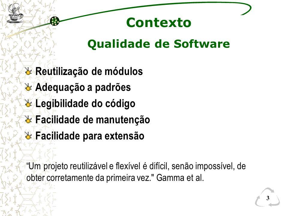 3 Contexto Qualidade de Software Reutilização de módulos Adequação a padrões Legibilidade do código Facilidade de manutenção Facilidade para extensão