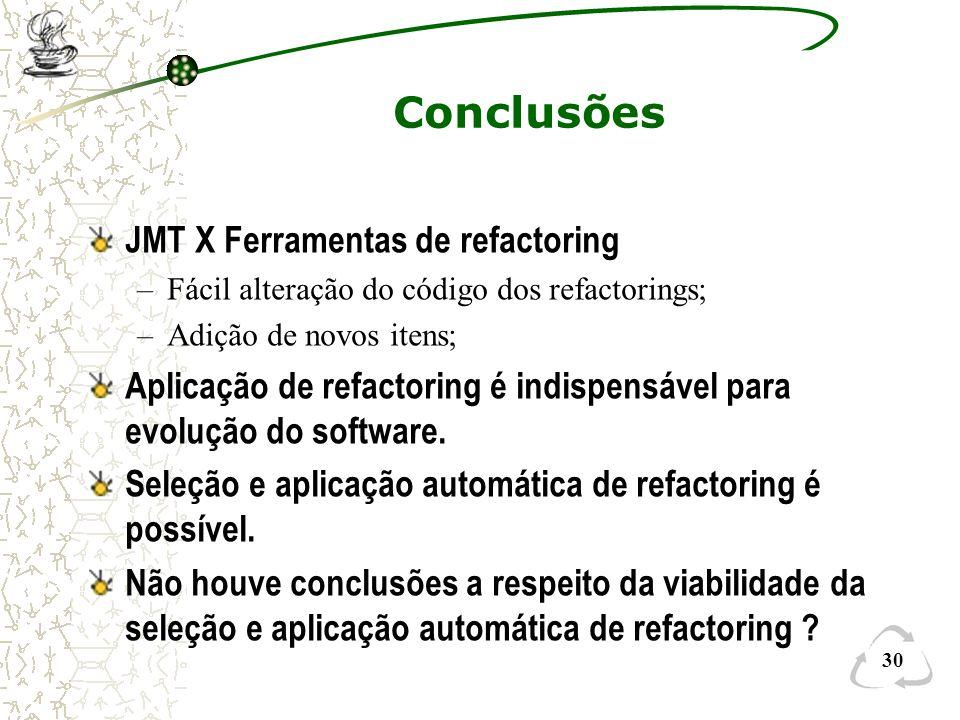 30 Conclusões JMT X Ferramentas de refactoring –Fácil alteração do código dos refactorings; –Adição de novos itens; Aplicação de refactoring é indispe