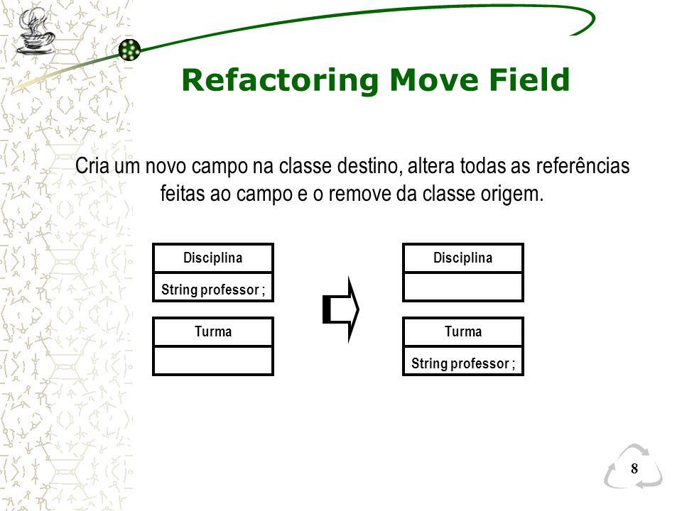 29 Exemplo Refactoring Automático (Depois) ClasseA public String fileName; private String extenssion; void methodA () public void setExtenssion(String arg) public String getExtenssion () –Campo extenssion foi encapsulado –ClasseB foi absorvida pela ClasseA (Inline Class)