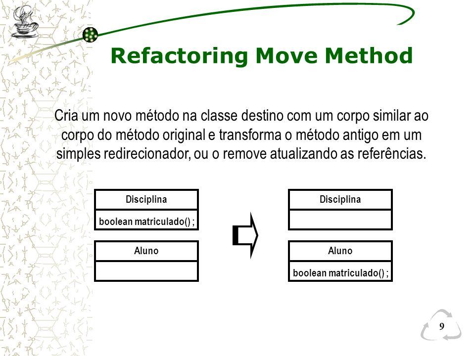 9 Refactoring Move Method Disciplina boolean matriculado() ; Aluno boolean matriculado() ; Aluno Disciplina Cria um novo método na classe destino com