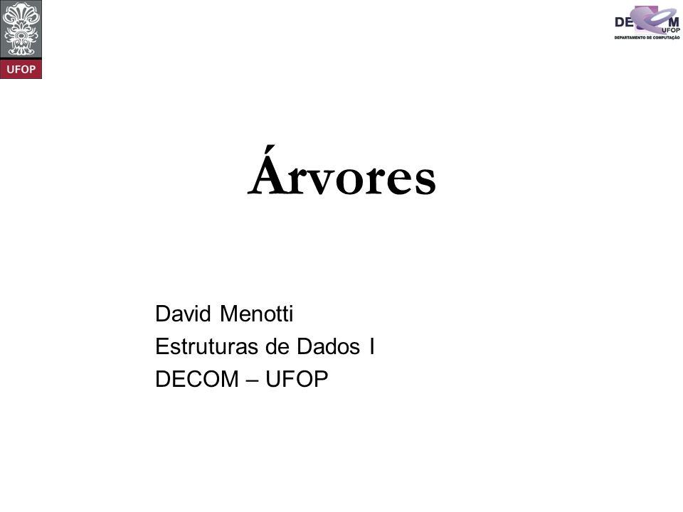 Árvores David Menotti Estruturas de Dados I DECOM – UFOP