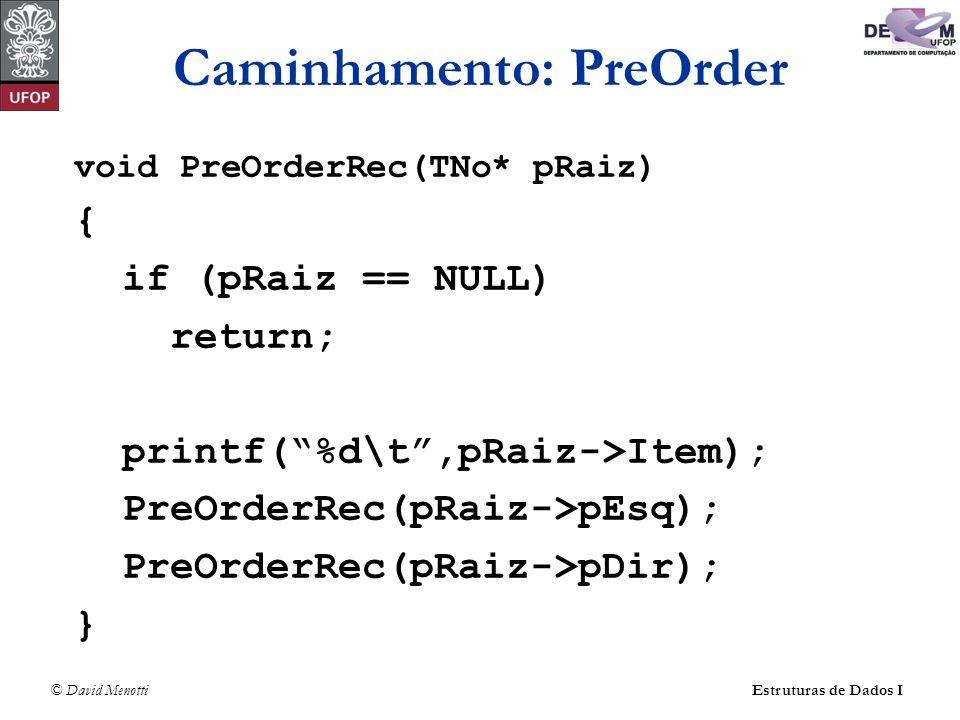 © David MenottiEstruturas de Dados I Caminhamento: PreOrder void PreOrderRec(TNo* pRaiz) { if (pRaiz == NULL) return; printf(%d\t,pRaiz->Item); PreOrd