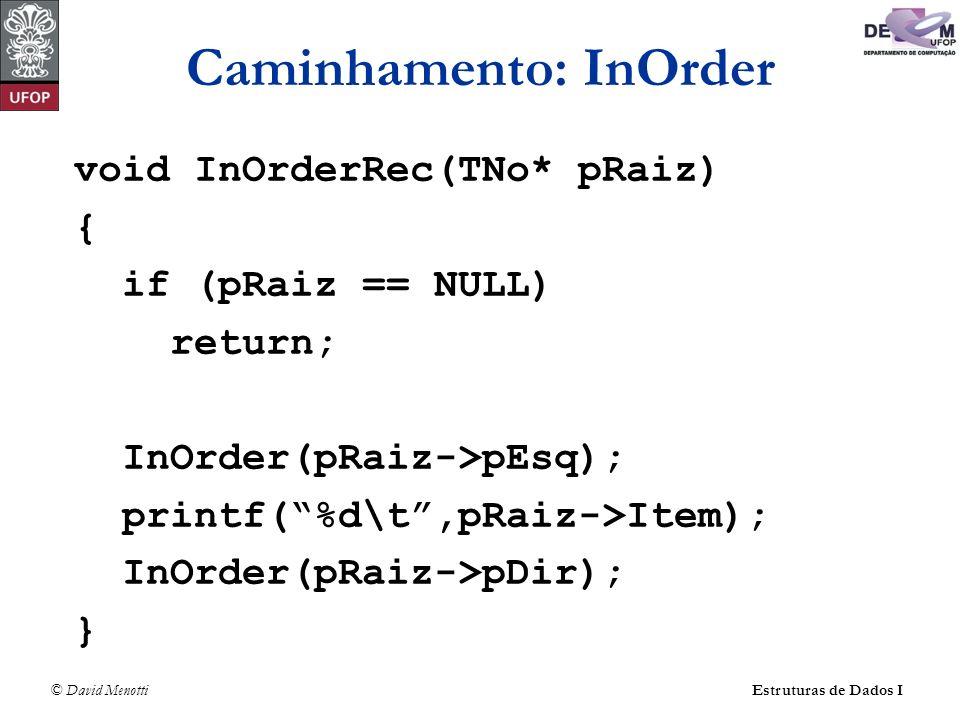 © David MenottiEstruturas de Dados I Caminhamento: InOrder void InOrderRec(TNo* pRaiz) { if (pRaiz == NULL) return; InOrder(pRaiz->pEsq); printf(%d\t,