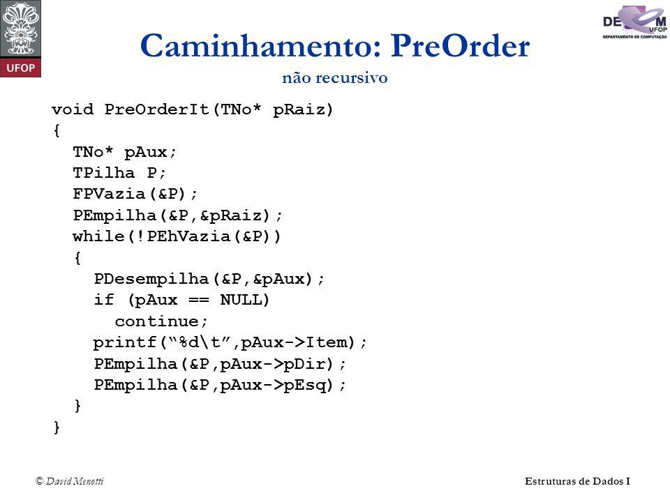 © David MenottiEstruturas de Dados I Caminhamento: PreOrder não recursivo void PreOrderIt(TNo* pRaiz) { TNo* pAux; TPilha P; FPVazia(&P); PEmpilha(&P,