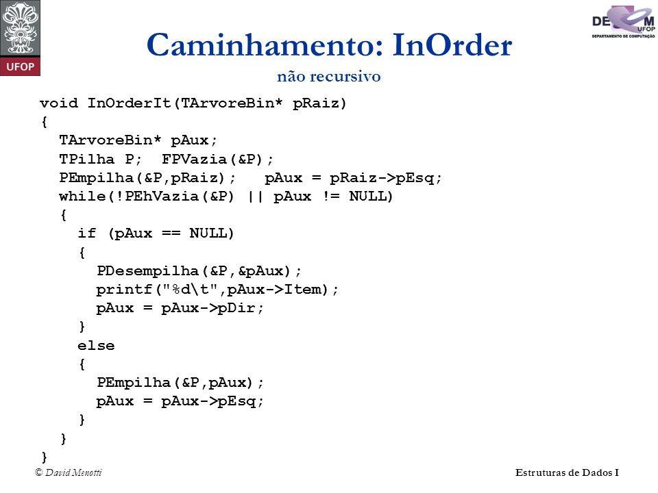 © David MenottiEstruturas de Dados I Caminhamento: InOrder não recursivo void InOrderIt(TArvoreBin* pRaiz) { TArvoreBin* pAux; TPilha P; FPVazia(&P);