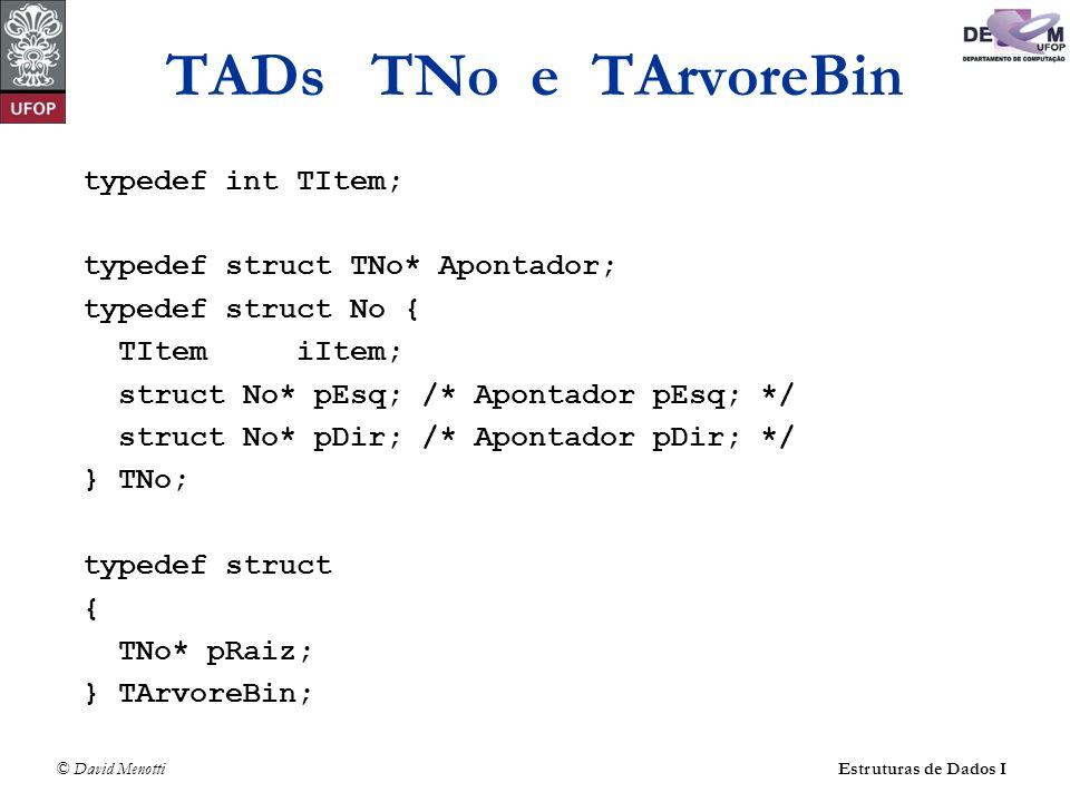 © David MenottiEstruturas de Dados I TADs TNo e TArvoreBin typedef int TItem; typedef struct TNo* Apontador; typedef struct No { TItem iItem; struct N