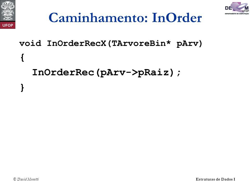 © David MenottiEstruturas de Dados I Caminhamento: InOrder void InOrderRecX(TArvoreBin* pArv) { InOrderRec(pArv->pRaiz); }