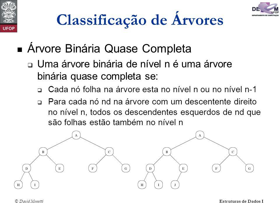 © David MenottiEstruturas de Dados I Classificação de Árvores Árvore Binária Quase Completa Uma árvore binária de nível n é uma árvore binária quase c
