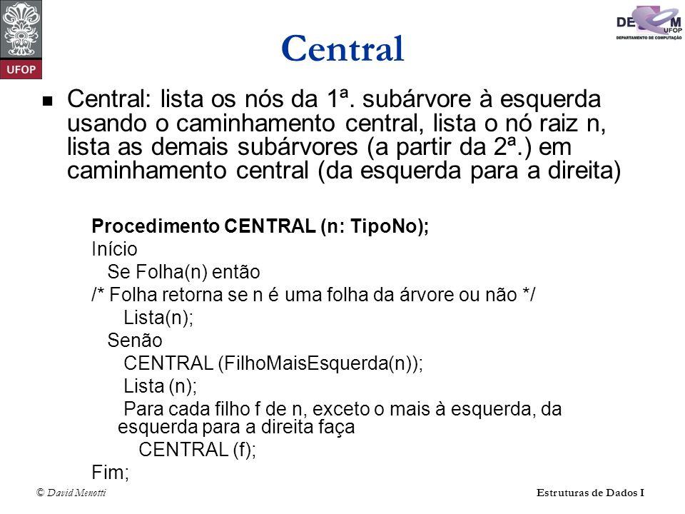 © David MenottiEstruturas de Dados I Central Central: lista os nós da 1ª. subárvore à esquerda usando o caminhamento central, lista o nó raiz n, lista