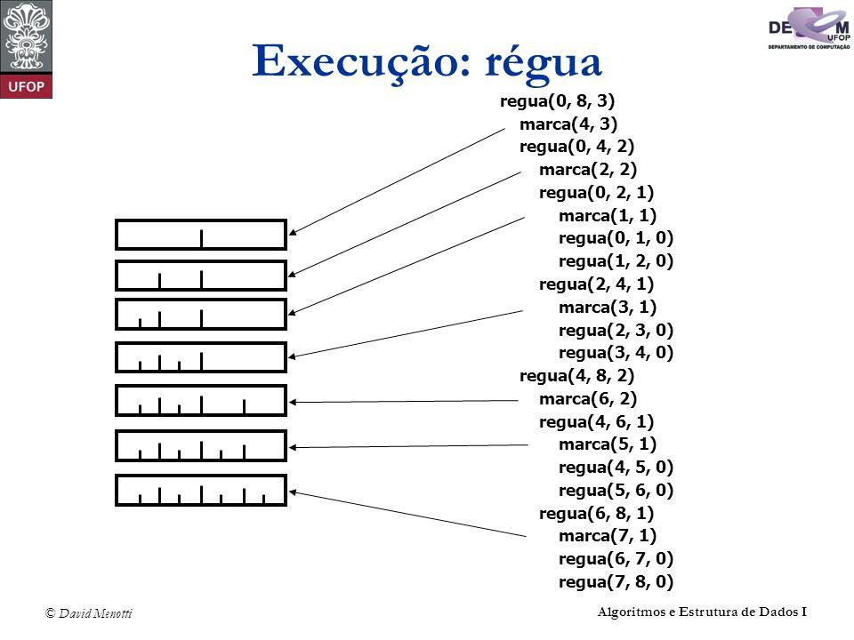 © David Menotti Algoritmos e Estrutura de Dados I Execução: régua regua(0, 8, 3) marca(4, 3) regua(0, 4, 2) marca(2, 2) regua(0, 2, 1) marca(1, 1) reg