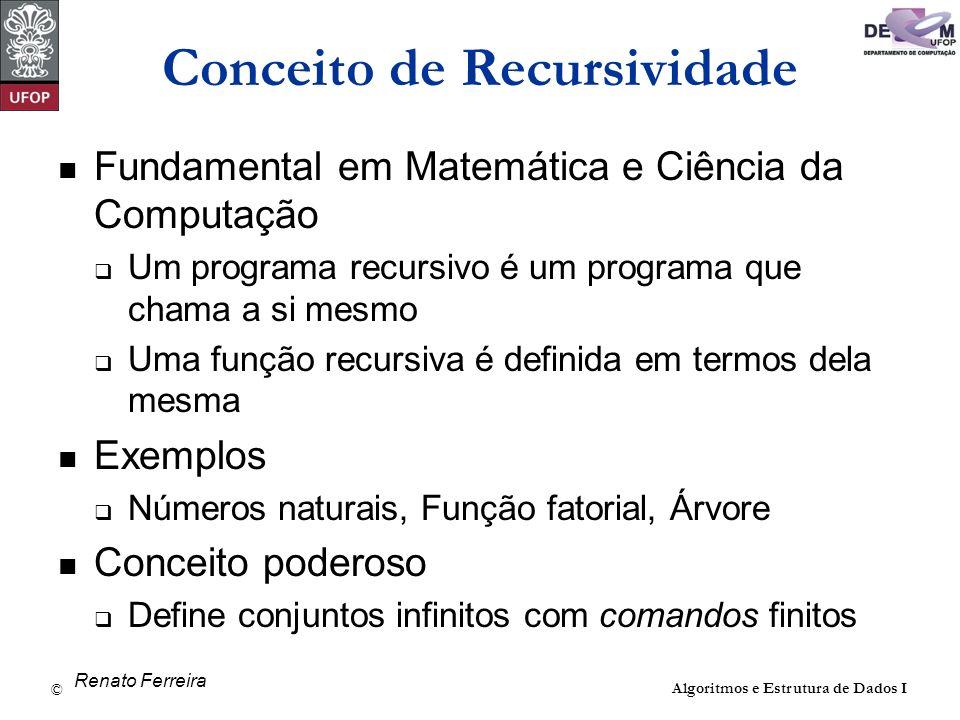 © David Menotti Algoritmos e Estrutura de Dados I Conceito de Recursividade Fundamental em Matemática e Ciência da Computação Um programa recursivo é