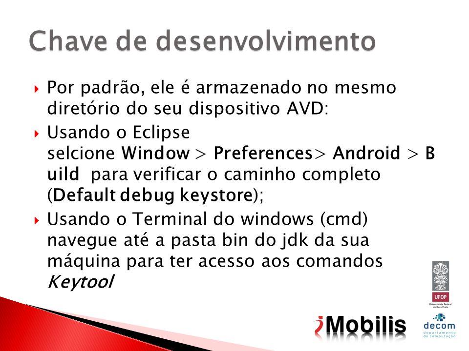 Por padrão, ele é armazenado no mesmo diretório do seu dispositivo AVD: Usando o Eclipse selcione Window > Preferences> Android > B uild para verifica