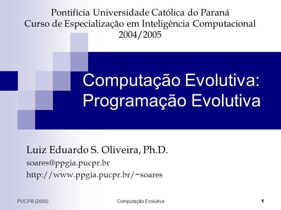 PUCPR (2005)Computação Evolutiva 1 Pontifícia Universidade Católica do Paraná Curso de Especialização em Inteligência Computacional 2004/2005 Luiz Edu