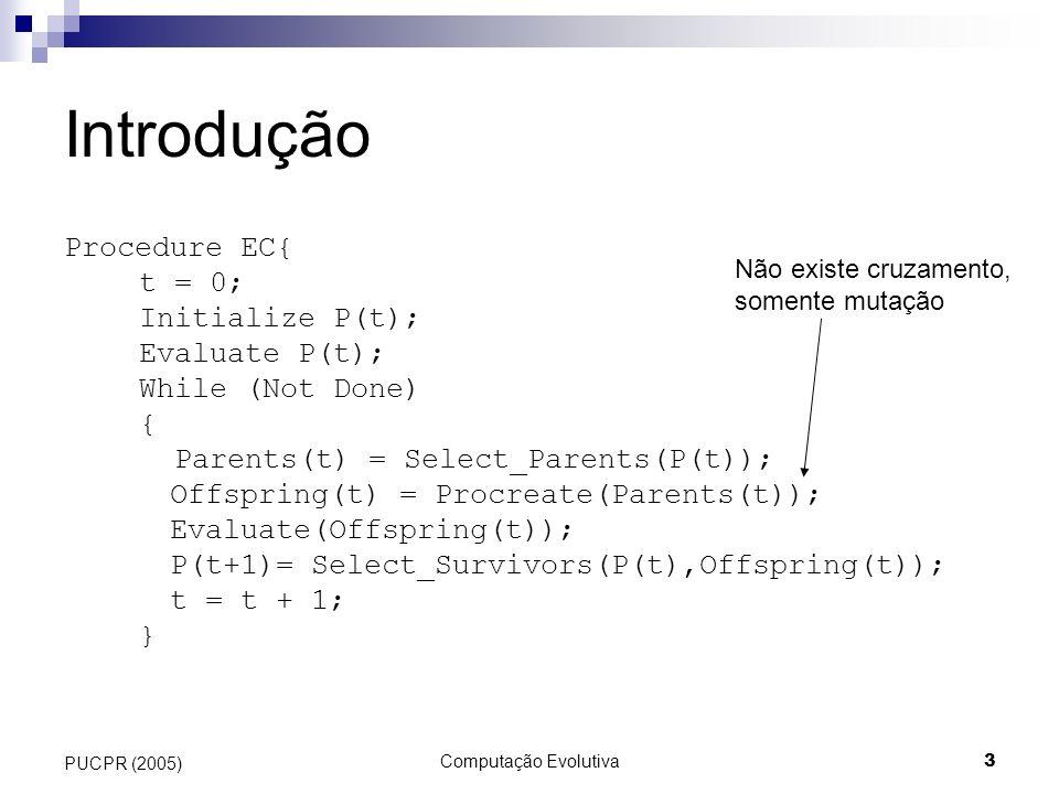 Computação Evolutiva3 PUCPR (2005) Introdução Procedure EC{ t = 0; Initialize P(t); Evaluate P(t); While (Not Done) { Parents(t) = Select_Parents(P(t)