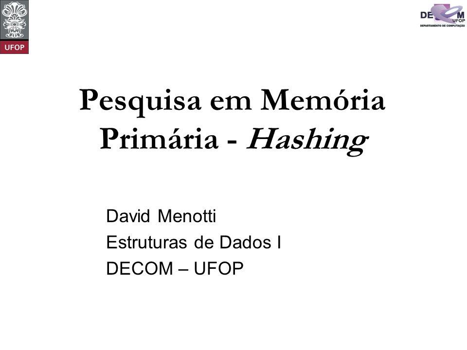 © David Menotti Estrutura de Dados I Transformação de Chave (Hashing) Os registros armazenados em uma tabela são diretamente endereçados a partir de uma transformação aritmética sobre a chave de pesquisa.