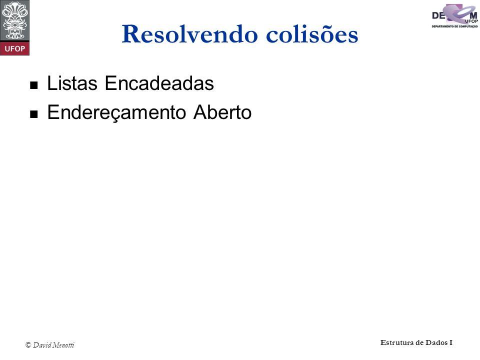 © David Menotti Estrutura de Dados I Resolvendo colisões Listas Encadeadas Endereçamento Aberto