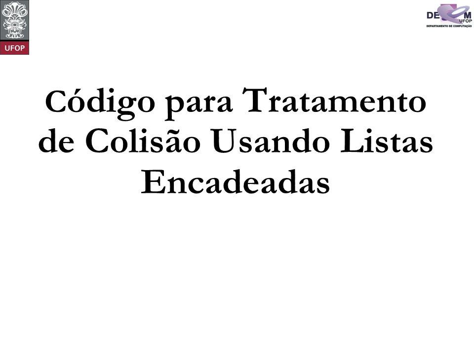 C ódigo para Tratamento de Colisão Usando Listas Encadeadas