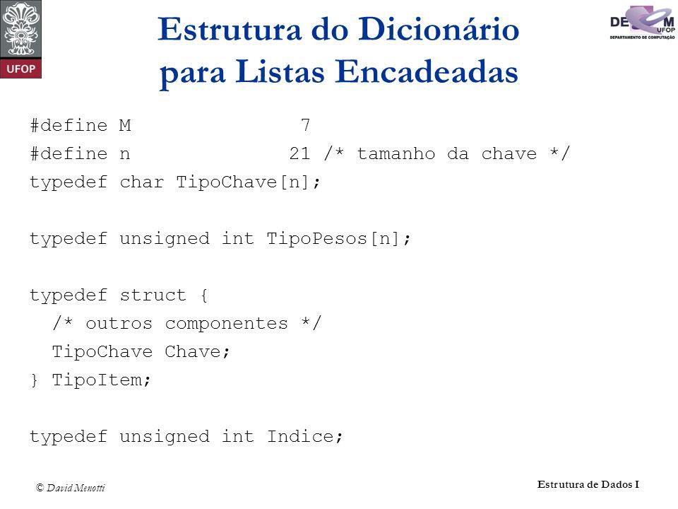 © David Menotti Estrutura de Dados I #define M 7 #define n 21 /* tamanho da chave */ typedef char TipoChave[n]; typedef unsigned int TipoPesos[n]; typ
