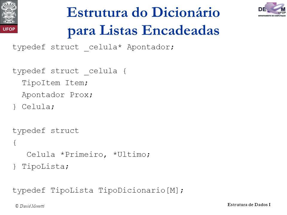 © David Menotti Estrutura de Dados I typedef struct _celula* Apontador; typedef struct _celula { TipoItem Item; Apontador Prox; } Celula; typedef stru