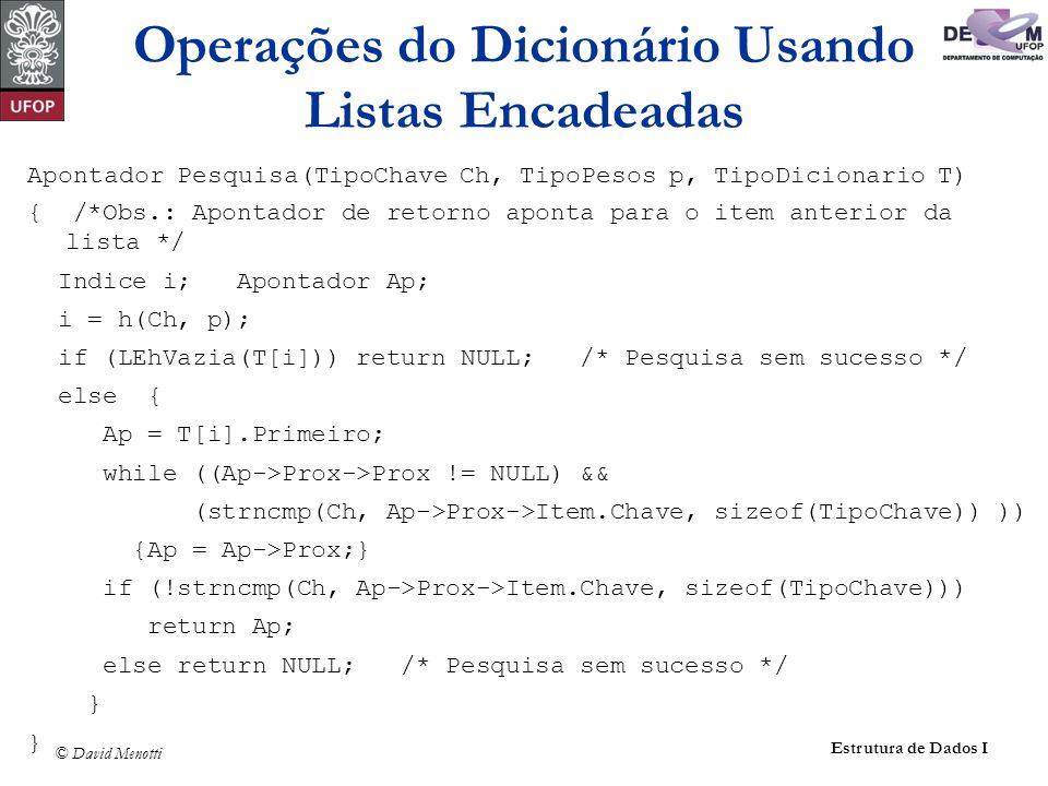 © David Menotti Estrutura de Dados I Apontador Pesquisa(TipoChave Ch, TipoPesos p, TipoDicionario T) { /*Obs.: Apontador de retorno aponta para o item