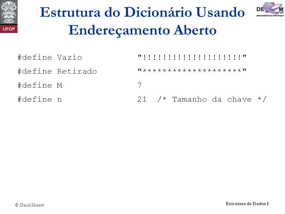 © David Menotti Estrutura de Dados I #define Vazio