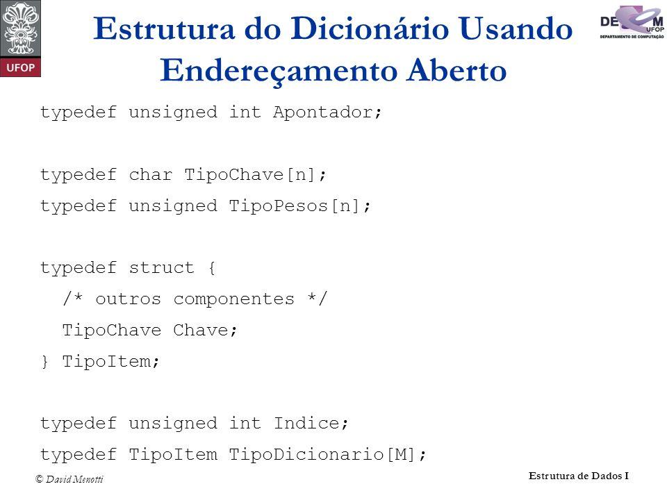 © David Menotti Estrutura de Dados I typedef unsigned int Apontador; typedef char TipoChave[n]; typedef unsigned TipoPesos[n]; typedef struct { /* out