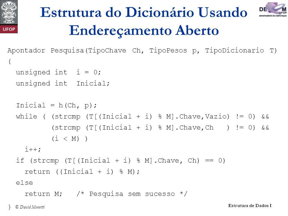 © David Menotti Estrutura de Dados I Apontador Pesquisa(TipoChave Ch, TipoPesos p, TipoDicionario T) { unsigned int i = 0; unsigned int Inicial; Inici