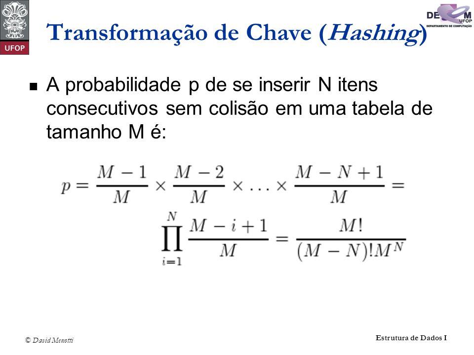 © David Menotti Estrutura de Dados I Apontador Pesquisa(TipoChave Ch, TipoPesos p, TipoDicionario T) { /*Obs.: Apontador de retorno aponta para o item anterior da lista */ Indice i; Apontador Ap; i = h(Ch, p); if (LEhVazia(T[i])) return NULL; /* Pesquisa sem sucesso */ else { Ap = T[i].Primeiro; while ((Ap->Prox->Prox != NULL) && (strncmp(Ch, Ap->Prox->Item.Chave, sizeof(TipoChave)) )) {Ap = Ap->Prox;} if (!strncmp(Ch, Ap->Prox->Item.Chave, sizeof(TipoChave))) return Ap; else return NULL; /* Pesquisa sem sucesso */ } Operações do Dicionário Usando Listas Encadeadas