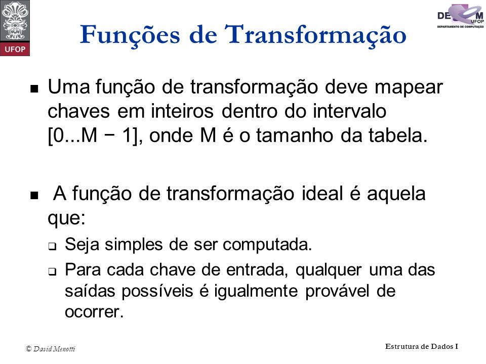 © David Menotti Estrutura de Dados I Funções de Transformação Uma função de transformação deve mapear chaves em inteiros dentro do intervalo [0...M 1]