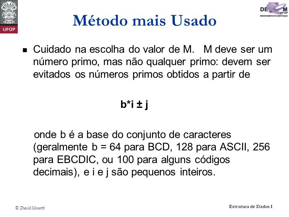 © David Menotti Estrutura de Dados I Método mais Usado Cuidado na escolha do valor de M. M deve ser um número primo, mas não qualquer primo: devem ser
