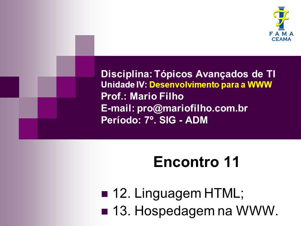 Disciplina: Tópicos Avançados de TI Unidade IV: Desenvolvimento para a WWW Prof.: Mario Filho E-mail: pro@mariofilho.com.br Período: 7º.