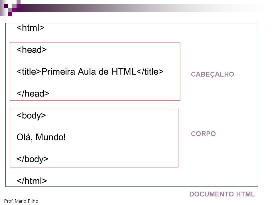 Prof. Mario Filho Primeira Aula de HTML Olá, Mundo! CABEÇALHO CORPO DOCUMENTO HTML