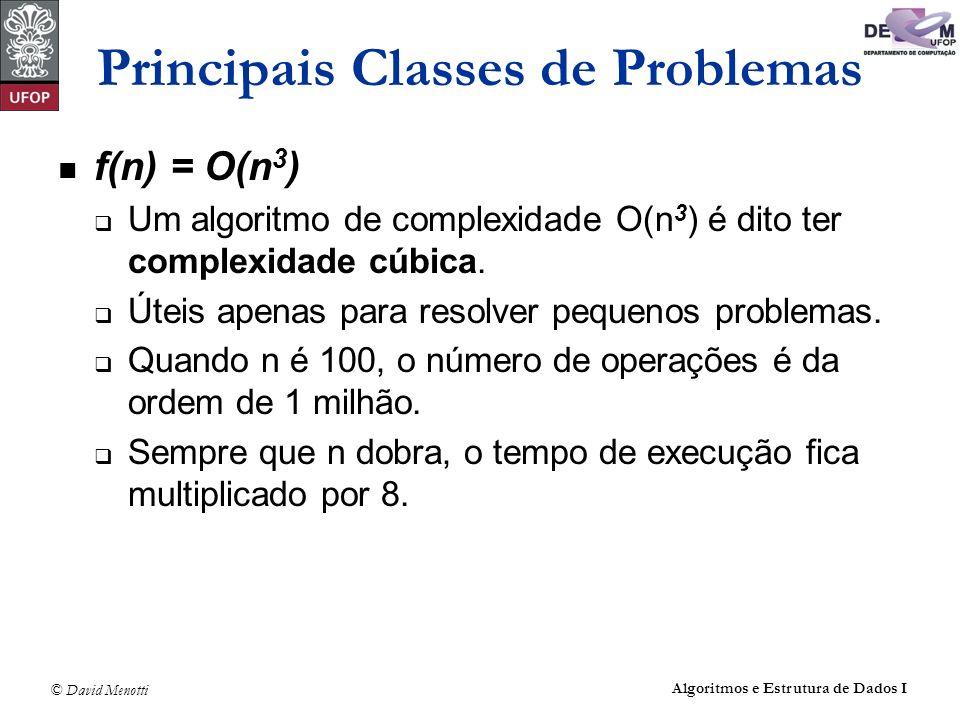 © David Menotti Algoritmos e Estrutura de Dados I Principais Classes de Problemas f(n) = O(n 3 ) Um algoritmo de complexidade O(n 3 ) é dito ter compl