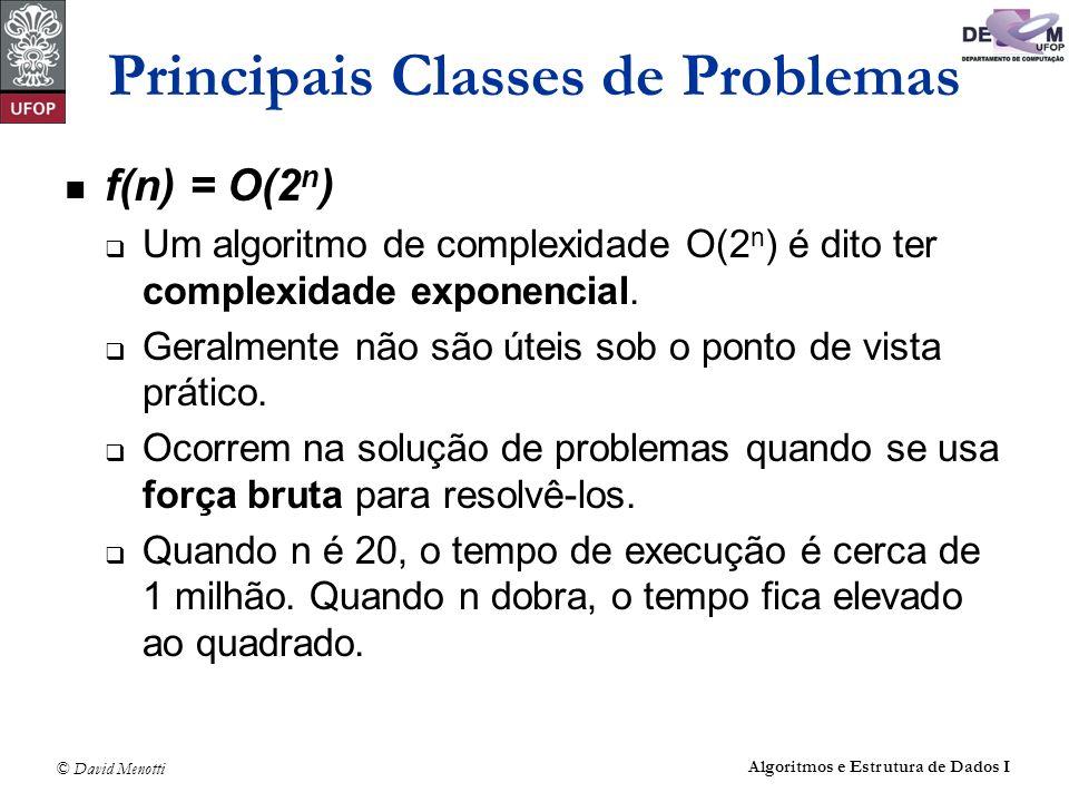 © David Menotti Algoritmos e Estrutura de Dados I Principais Classes de Problemas f(n) = O(2 n ) Um algoritmo de complexidade O(2 n ) é dito ter compl