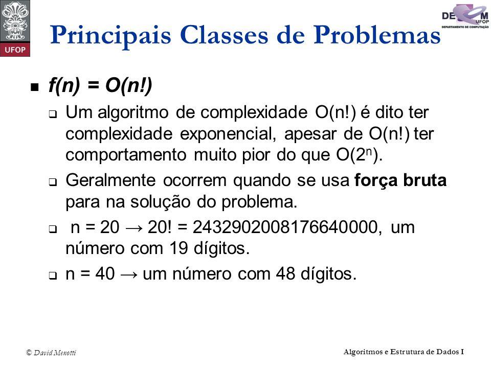 © David Menotti Algoritmos e Estrutura de Dados I Principais Classes de Problemas f(n) = O(n!) Um algoritmo de complexidade O(n!) é dito ter complexid