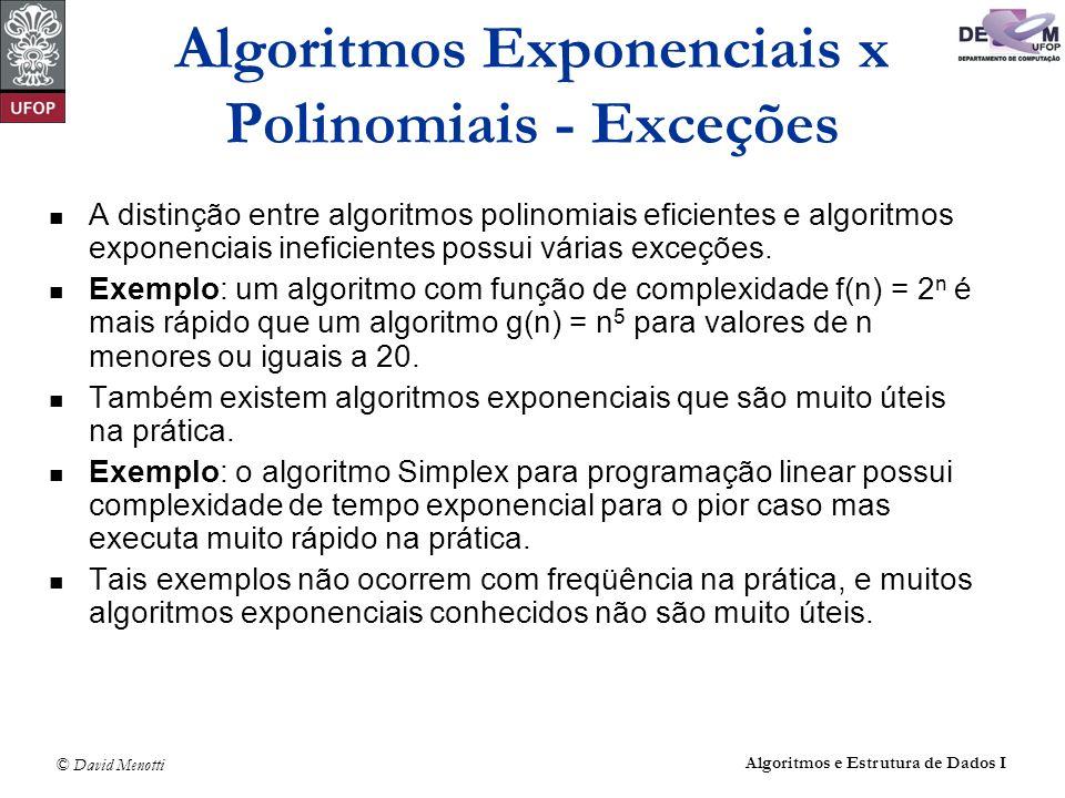 © David Menotti Algoritmos e Estrutura de Dados I Algoritmos Exponenciais x Polinomiais - Exceções A distinção entre algoritmos polinomiais eficientes