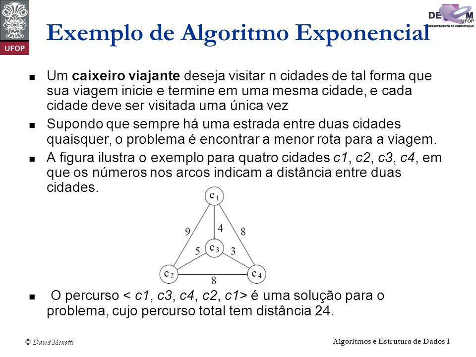 © David Menotti Algoritmos e Estrutura de Dados I Exemplo de Algoritmo Exponencial Um caixeiro viajante deseja visitar n cidades de tal forma que sua