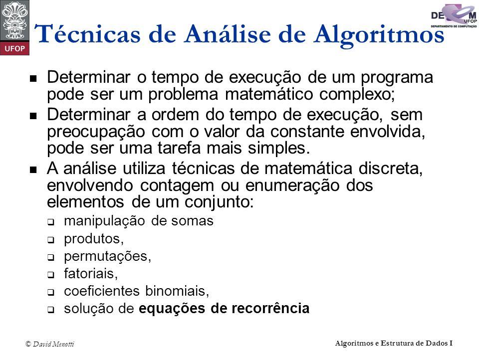 © David Menotti Algoritmos e Estrutura de Dados I Técnicas de Análise de Algoritmos Determinar o tempo de execução de um programa pode ser um problema