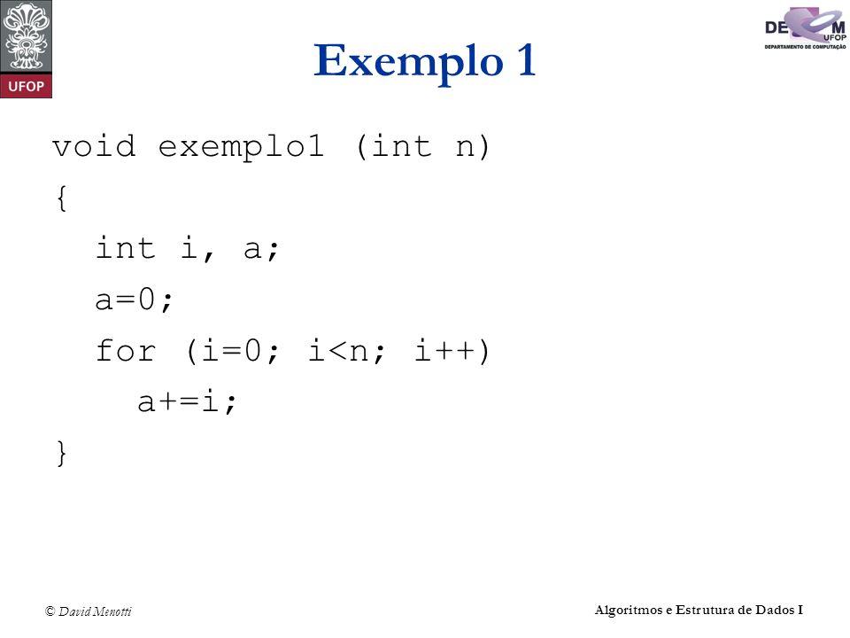 © David Menotti Algoritmos e Estrutura de Dados I Exemplo 1 void exemplo1 (int n) { int i, a; a=0; for (i=0; i<n; i++) a+=i; }